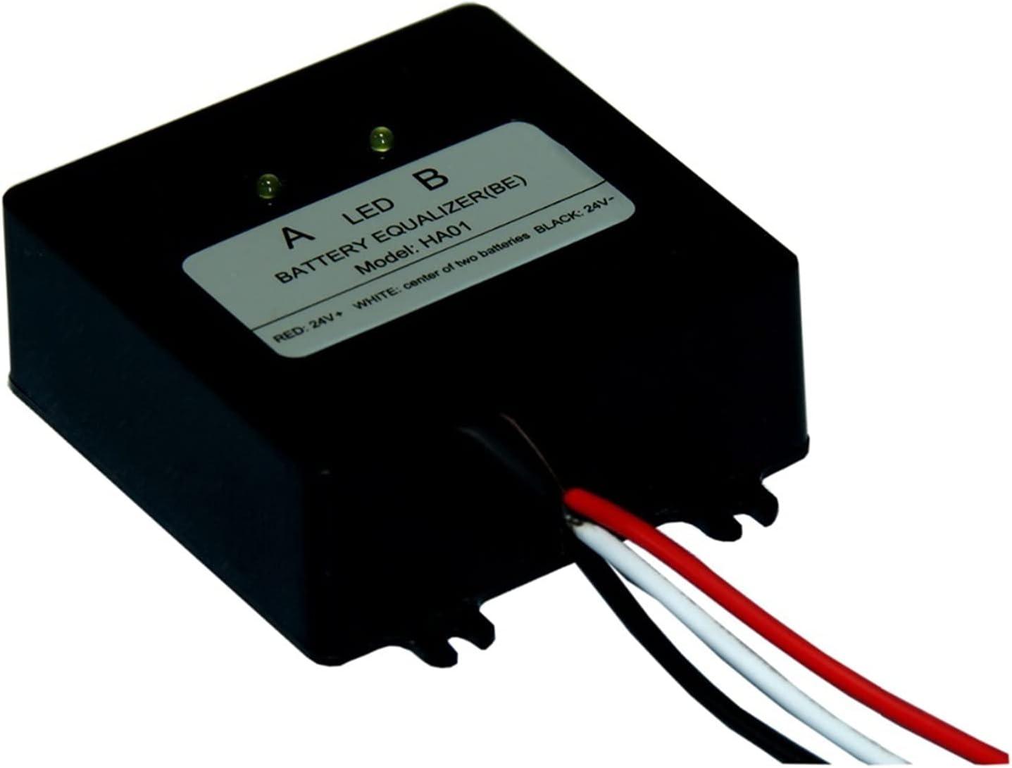 JSJJAWS Equilibrador de batería Ecualizador de la batería HA01 Ecualizador de Voltaje de la batería Balancer de Ecualizador for 2 x 12V Batería de ácido de Plomo 24V Sistema de batería