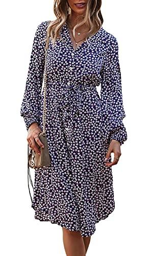 Awemeal Vestido elegante para mujer con estampado floral, manga larga, cuello en V, vestido de noche, casual, largo hasta la rodilla, vestido de fiesta, vestido de verano, marine, XL