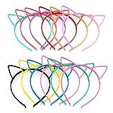 TIMESETL Diadema Orejas de Gato Niña 12 Colores Brillates Diadema de Gato para Maquillaje/Días Diarios/Cosplay de Disfraces, Diadema de Gato Colorida