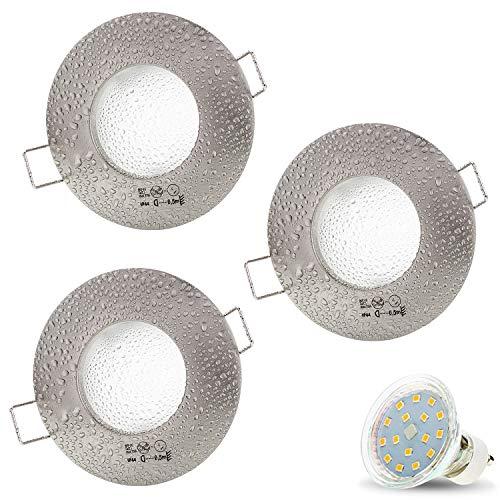 3er Set AQUA IP44 230V LED SMD 4W Warmweiß Decken Einbaustrahler Einbauspots Deckenspots, Badezimmer Feuchtraum Außenbereich (Matt-Chrom) inkl. GU10 Fassung mit 15cm Anschlusskabel [Einbautiefe:10cm]