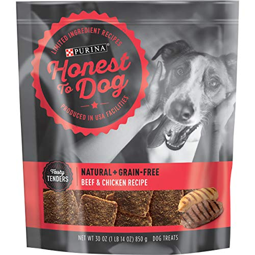 Honest To Dog Made in USA Facilities, Limited Ingredient, Grain Free Dog Treats, Beef & Chicken - 30 oz. Pouch