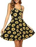 UNibelle Sommerkleid Damen Kurz Kleider Knielang Trägerkleid Leicht Blumen, Sonnenblume, S