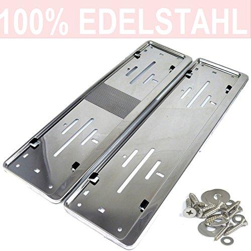 LP A199 2 x Kennzeichenhalter in Edelstahl poliert - 100% EDELSTAHL - auch passend für gebogenen Stosstangen- INOX C.4580