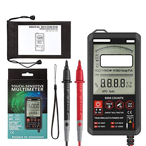 ORETG45 multímetro diodo voltaje probador Mete con pantalla táctil, multímetro ultrafino voltaje frecuencia capacitancia resistencia medidor 6000 cuentas, rango automático multímetro probador digital