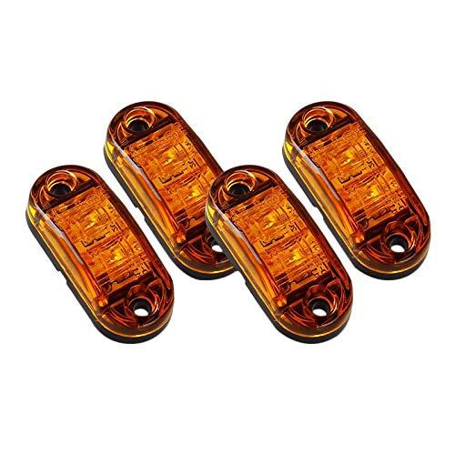 NEYOANN 4 x bärnsten LED 2,5 tum 2 dioder ljus oval frigång släpvagn lastbil sidomarkörslampa
