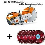 Stihl TS 420motortrenner 3,2kW, incluye 5x discos de corte de diamante corte Amoladora