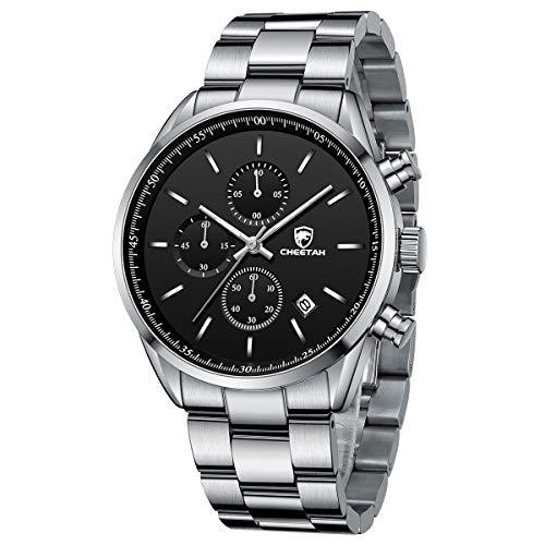 Cheetah, orologio da uomo alla moda in acciaio inox, cronografo, analogico, al quarzo, impermeabile, con data Argento nero