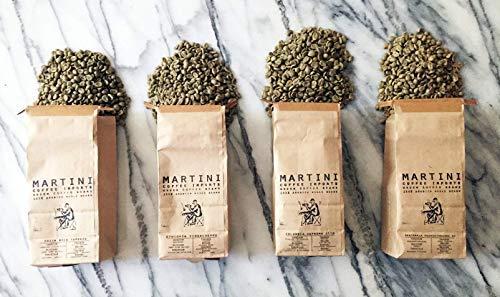 Unroasted Green Coffee Bean Sampler Pack - 4LBS - 100% raw arabica coffee beans - COLOMBIA, ETHIOPIA, GUATEMALA, BRAZIL, INDONESIA