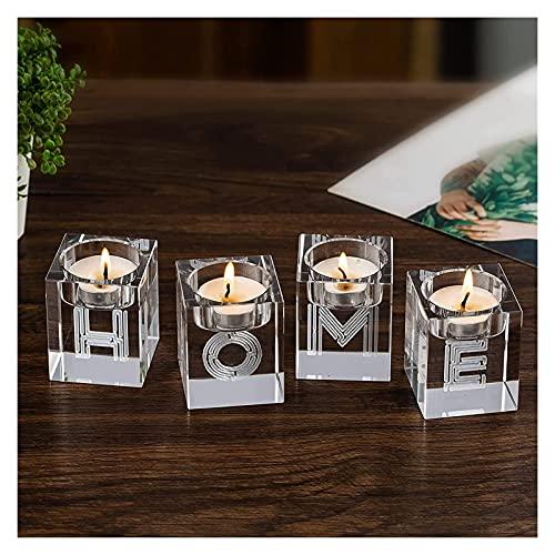 CAETNY Conjunto de Porta-Velas de vidro Transparente com 4, castiçais de Cristal de chá de Velas Ornamentos artesanais para decoração de Quartos À luz de Velas Ornamento de Mesa de jantar Presente
