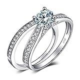 JewelryPalace Anillos Mujer Plata Diamante Simulado, 1ct Anillos de Compromiso Plata de ley 925 Mujer Chapado en Oro,...