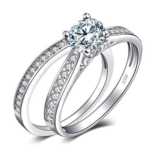 JewelryPalace Anillos Mujer Plata Diamante Simulado, 1ct Anillos de Compromiso Plata de ley 925 Mujer Chapado en Oro, Promiso Anillo Mujer Alianzas Banda Boda Conjuntos, Joyería de Aniversario