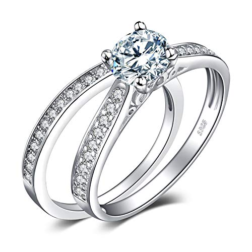 JewelryPalace Wedding Eternity Band Engagement Rings for her, White Gold Plated 925 Sterling Silver Promise Rings for Women, Anniversary Simulated Diamond Ring Set, Girls Womens Jewellery