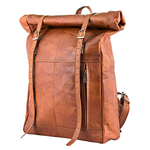 Urban Leather Roll Top Backpack Rucksack Daypack Knapsack Travel Luggage Bag Vintage Retro Brown, Unisex, Size Medium