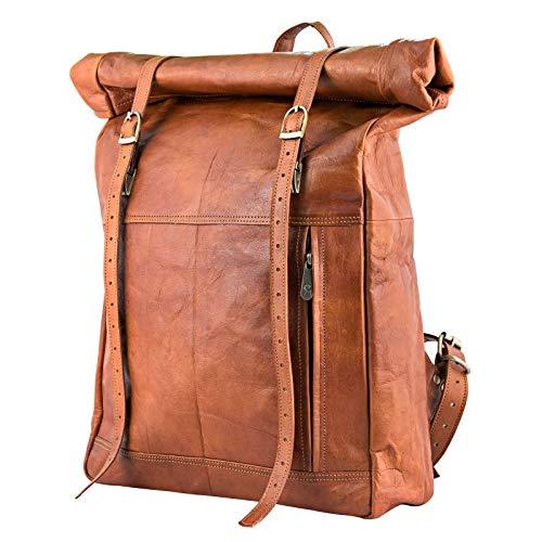 Urban Leather Roll Top Backpack Rucksack Daypack Knapsack Travel...
