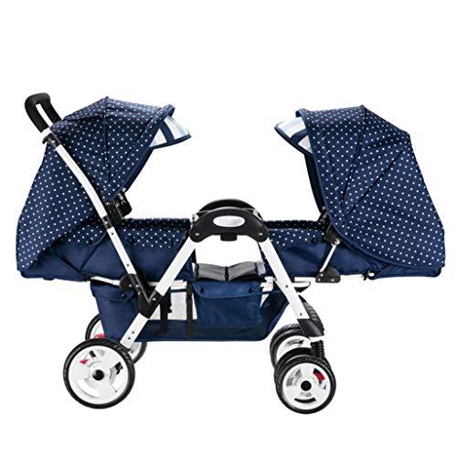 Poussette jumelle pour bébé, 2 caravanes pour bébé, S'allonger, légère et Facile à Plier, Poussette