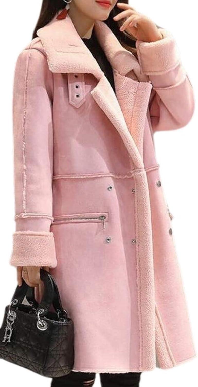 GenericWomen Comfy Trench Coat Hooded Suede Lamb Wool Warm Quilted Jacket