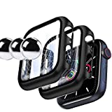 [2 Pack] YMHML Case for Apple Watch 44mm Series 6/5/4/ SE with Built-in Tempered Glass Screen Protector, Hard PC Ultra-Thin Cover for iWatch 44mm Accessories (Black)