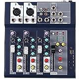 ZLDGYG SMDMM Mezclador Profesional de 4 Canales y 2 Buses con Entrada Reproductor Bluetooth/USB mp3 48v Potencia para Grabar música Escenario DJ
