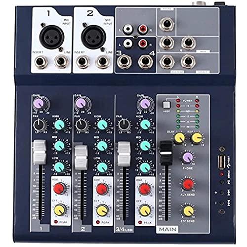 FENXIXI Mezclador Profesional de 4 Canales y 2 Buses con Entrada Reproductor Bluetooth/USB mp3 48v Potencia para Grabar música Escenario DJ