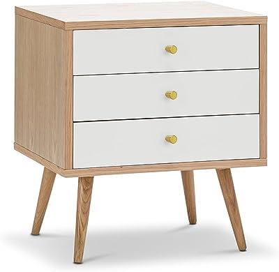 L3 Home Liena 3 Drawer Oak Bedside Table, White