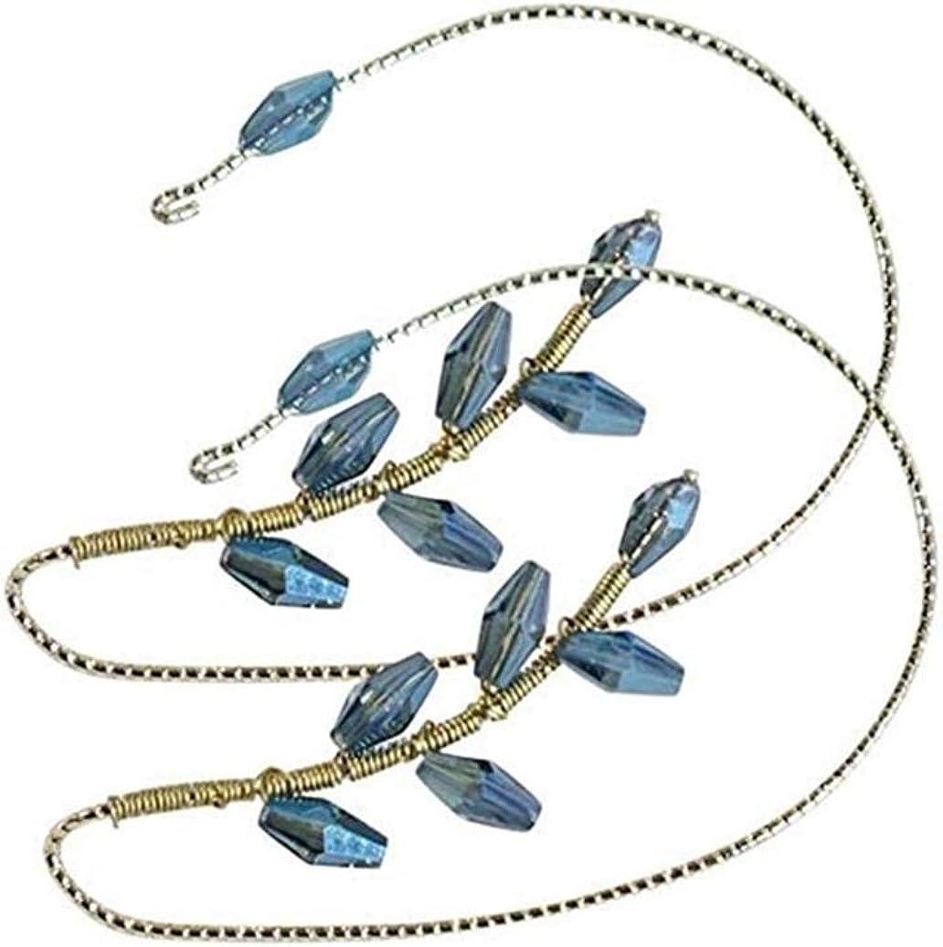 1 Pair Vintage Ear Cuff Earrings Ear Wrap Crawler Hook Earrings Wire Wrapping Beaded for Women Girls (Black Crystal)