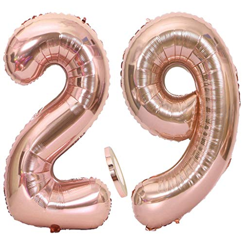 """2 Globos Número 29 Oro Rosa, Ouceanwin Gigante Foil Globos Numeros 29 Grande Globo de Papel de Alumini, 40"""" Globo Inflable Helio para Decoraciones de Fiesta de Cumpleaños 29 Años Señoras (100cm)"""