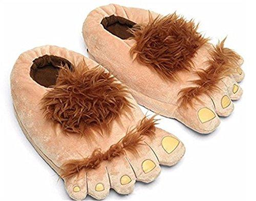KLDDZQ Pantoffeln,Bigfoot Lustige Pelz Adventure Barbaric Hobbit Hausschuhe Winter Warm Indoor Fluffy Pantoffeln Free Size Plüsch (Eine Größe passt für die meisten Erwachsenen), 35-40