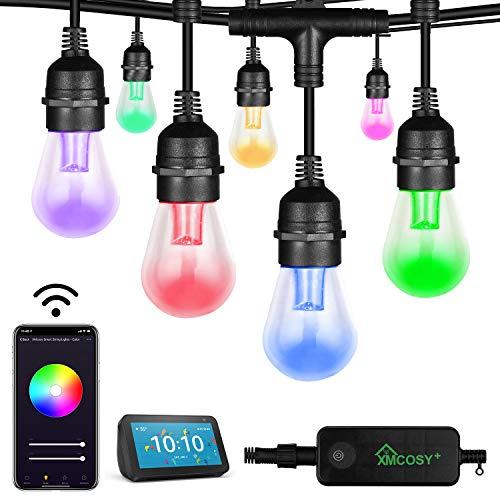Bunte Lichterkette Außen,Intelligente Outdoor Lichterkette Glühbirnen Dimmbar von App &Timer IP65 Wasserdicht Bruchsicher Led Lichterkette Aussen 15M 15 Bulbs für Garten, Weihnachten,Party