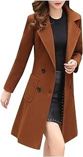 Aotifu Women's Faux Fur Lapel Double-Breasted Thick Wool Trench Coat Jacket Winter Coats Long Peacoat Dress Coat Jacket