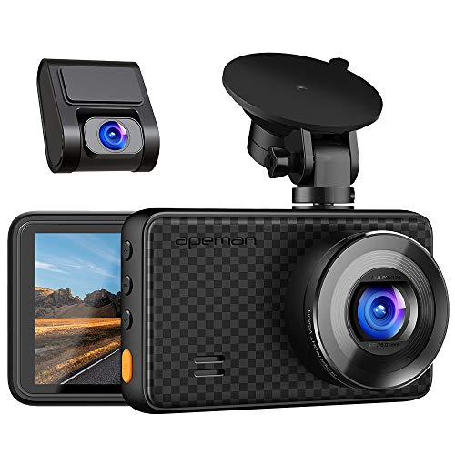 APEMAN 1440P&1080P Dual Dash Cam, 1520P max, Front and Rear Camera for Cars with 3 Inch IPS Screen, Support 128GB, Driving Recorder with IR Sensor Night Vision, Motion Detection, Parking Monitor