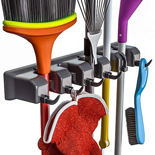 OVBBESS Broom Holder and Garden Tool Organizer for Rake or Mop Handles Up (Black)