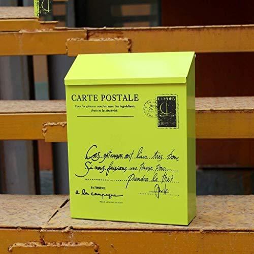 Inductie vuilnisbak Retro-mail / PO Box / mail / mail / mailbox verzinkt staal waterdicht ontwerp, met slanke lijnen en kranten slot, muur gemonteerd, afsluitbare muur gemonteerde buitenbrievenbus Huishoudelijk d