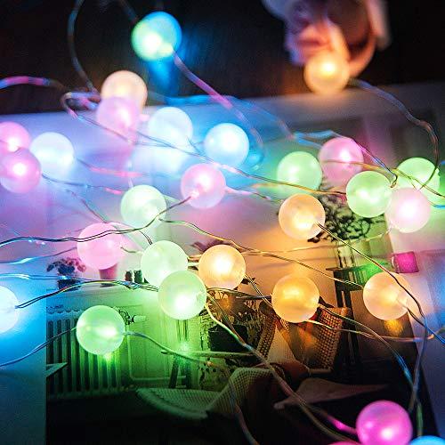 Shinar Garden - Luces solares de hadas para exteriores, 26 pies, alambre de cobre, 50 LED de colores con bola de globos, luces de festival, luces solares para celebraciones, bodas, cumpleaños, Navidad