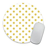 Real Gold Polka Dots Pattern Round Mouse Pad - Gold Foil Mouse Pad - Custom Color Personalized - Computer or Office Work Station Decor