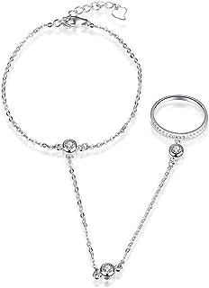 NYKKOLA, baciamano in argento Sterling 925 e zirconia cubica, braccialetto alla schiava, alla moda, con anello collegato t...