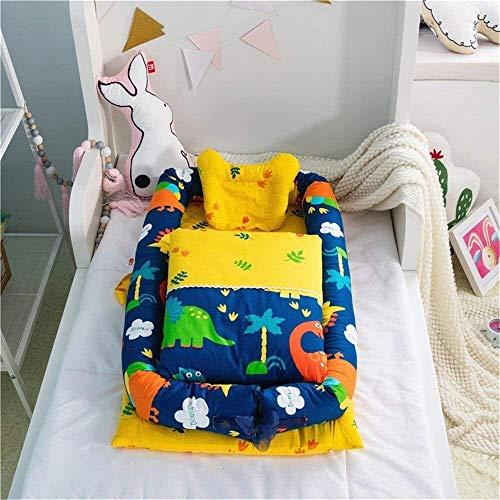 Bebé de la cuna a la cama dinosaurio lindo del bebé impresión Tumbona 0-24 Meses colecho Cuna 100% algodón cuna portátil for BedroomTravel 2 piezas Cama Almohada for Niños Niñas (Color: Conejo 3 pieza