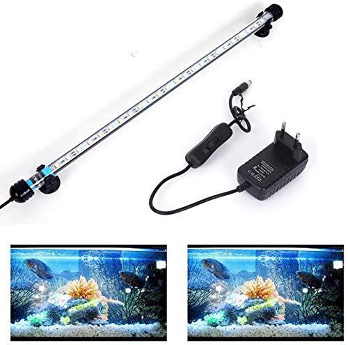 SolarNovo 18-112 cm LED Aquarium-Licht Unterwasserbeleuchtung Aufsetzleuchte Abdeckung Wasserdicht Lampe Stecker EU für Fisch Tank (1.8 * 48cm, Weiß & Blau)