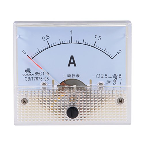 uxcell Analog Current Panel Meter DC 0-2A 85C1 Ammeter 64x60x56mm for Circuit Testing Charging Battery Ampere Tester Gauge Pack of 1