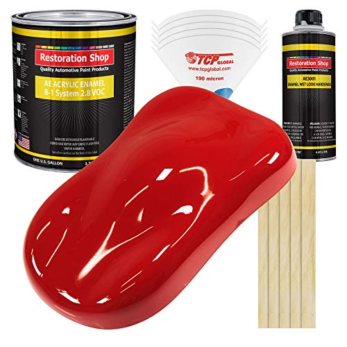 Restoration Shop - Rally Red Acrylic Enamel Auto Paint - Complete Gallon Paint Kit - Professional Single Stage High Gloss Automotive, Car, Truck, Equipment Coating, 8:1 Mix Ratio, 2.8 VOC