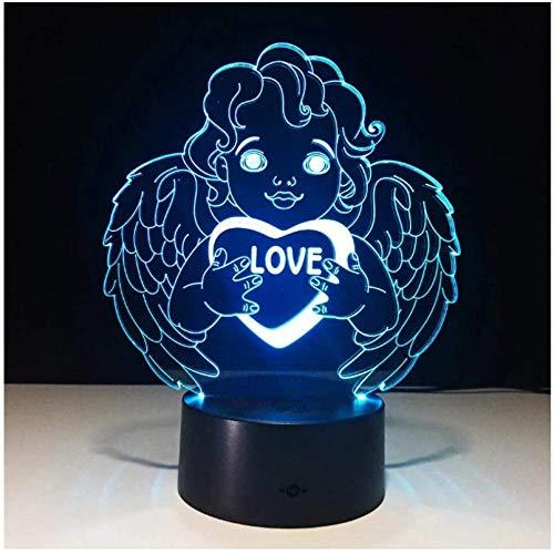ADIS Lámpara de luz Nocturna LED 3D Lámpara de ilusión 3D para niños Control táctil Regulable Luz de Brillo para decoración del hogar y Regalos para Amantes Padres Amigos-Ángel de Amor