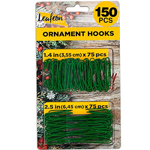 150 Pack Ornament Hooks for Christmas – Essential Christmas Ornament Hangers – Perfect Xmas Ornament Hangers for Christmas Tree Decoration (Green)