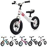 Bicicleta sin Pedales para Niños 2-6 años hasta 30 kg Ultraligera Mini Bici Bebés Infantil Andadores Bebé Equilibrio con Sillín y Manilar Regulable Ruedas bombeadas First bike (niños, blanco/rosa)