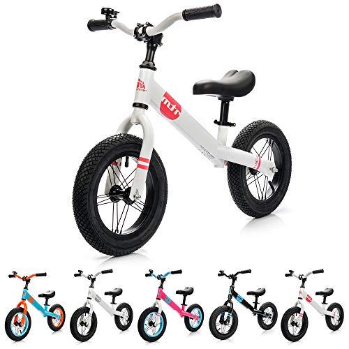 meteor Laufrad Griff und Lenker verstellbar und Luftreifen Laufen Fahrrad zu Lernen fur Kinder 2-6 Jahre (Weiß/Pink)