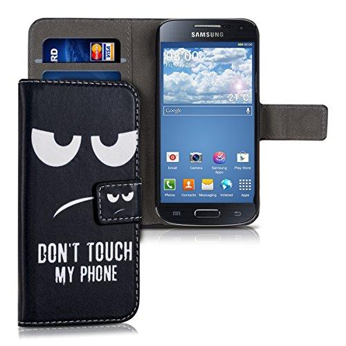 kwmobile Hülle kompatibel mit Samsung Galaxy S4 Mini - Kunstleder Wallet Case mit Kartenfächern Stand Don't Touch My Phone Weiß Schwarz