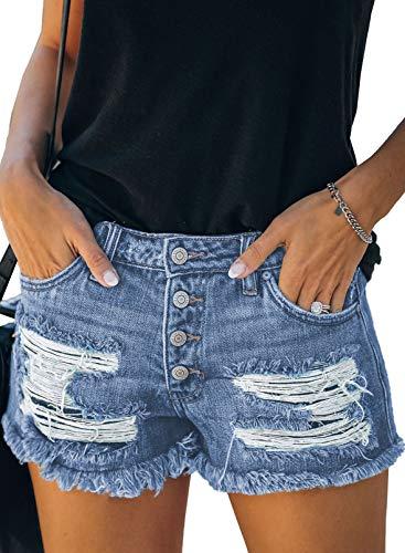 BTFBM Women High Waisted Rise Short Jean Summer Soft Comfy Stretchy Button Ripped Frayed Distressed Casual Denim Shorts (4 Buttons Dark Blue, Medium)