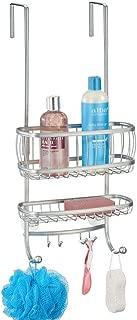 mDesign Small Metal Over Door Bathroom Tub & Shower Caddy, Hanging Storage Organizer Center - Holds Shampoo, Conditioner, Body Wash, Razor, Dry Towel - 2 Baskets, 6 Hooks - Silver