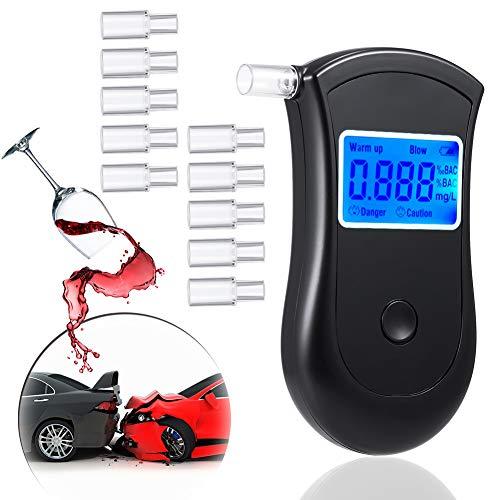 JTENG Etilometro Portatile Digitale, Alcool Test Professionale con Schermo LED Display, Breath Analyzer incluir 10 Boccagli