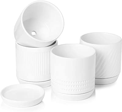 POTEY 053001 Plant Pots with Drainage Holes & Saucer - 5.1 Inch Glazed Ceramic Modern Planters Indoor Bonsai Container for Plants Flower Aloe(Set of 4, Shiny White, Plants Not Included)