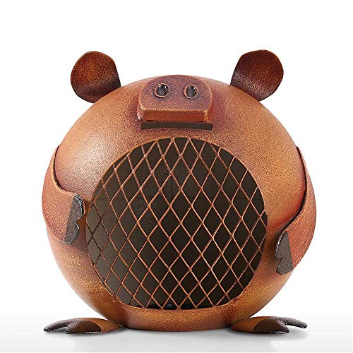 LSX Piggy Piggy Bank Metal Decoraciones caseras Creativas Hierro Forjado Piggy Bank para niños Adulto Banco de Monedas Decoración de Regalo- (2 Piezas)