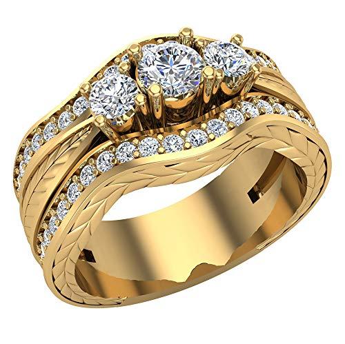 Juego de anillos de boda con diamantes grabados en el futuro con bandas de refuerzo de oro de 14 quilates de 1,20 quilates (F,VS1) (tamaño del anillo 6,5)